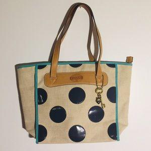 Fossil Polka Dot KeyPer Shopper Tote Bag/Purse